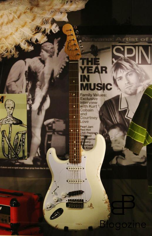 Exclusive... 52206933 General views of the Kurt Cobain exhibit at the Experience Music Pavilion Museum in Seattle, Washington on October 18, 2016. The exhibit is only available for a limited time and showcases some of his favorite guitars and other memorabilia. FameFlynet, Inc - Beverly Hills, CA, USA - +1 (310) 505-9876