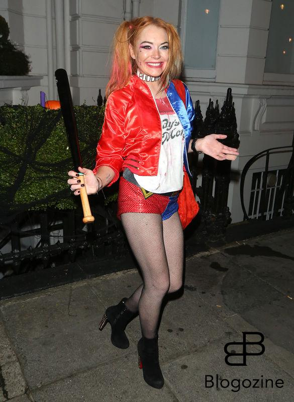 1 November 2016. Lindsay Lohan seen here dressed as Harley Quinn for friend Fran Cutler