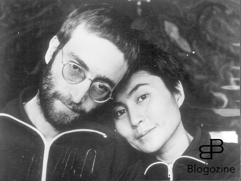 JOHN LENNON - British Rock Singer and Songwriter - Former member of The Beatles - With his wife YOKO ONO. This was the first time the pair had been photographed with short hair since their
