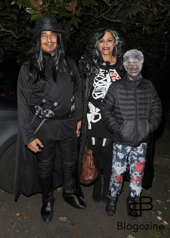 31 October 2016. Celebrities attend the annual Halloween party held at the home of Jonathan Ross. Pictured, Sanjeev Bhaskar and Meera Syal Credit: Will/CK/GoffPhotos.com Ref: KGC-172/305