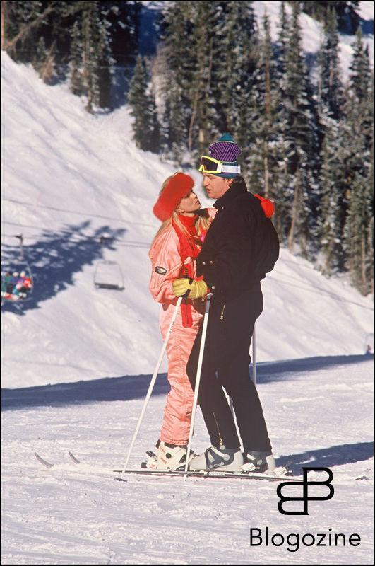 ARCHIVES - DONALD TRUMP, AVEC SA FEMME IVANA TRUMP, ET MARLA MAPLES A ASPEN COLORADO ARCHIVES PLAIN PIED SPORT D